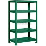 "Pucel™ Shelving Unit, 30""W x 65""H x 14""D, 5 Levels, 12 GA Shelves, Welded, Dark Green"