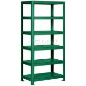 "Pucel™ Shelving Unit, 36""W x 65""H x 14""D, 6 Levels, 12 GA Shelves, Welded, Dark Green"