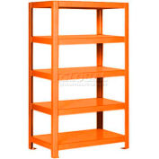 "Pucel™ Shelving Unit, 48""W x 65""H x 14""D, 5 Levels, 12 GA Shelves, Welded, Orange"