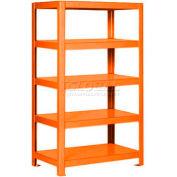 "Pucel™ Shelving Unit, 30""W x 65""H x 18""D, 5 Levels, 12 GA Shelves, Welded, Orange"