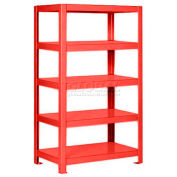 "Pucel™ Shelving Unit, 36""W x 65""H x 24""D, 5 Levels, 12 GA Shelves, Welded, Red"