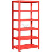 "Pucel™ Shelving Unit, 36""W x 65""H x 24""D, 6 Levels, 12 GA Shelves, Welded, Red"
