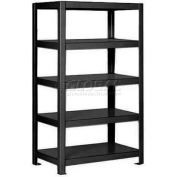 "Pucel™ Shelving Unit, 48""W x 65""H x 24""D, 5 Levels, 12 GA Shelves, Welded, Black"