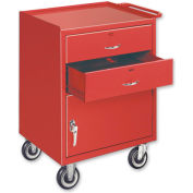 Mobile Drawer Bench - 1 Cabinet and 2 Drawers Putty