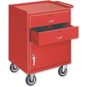 Mobile Drawer Bench w/ Steel Casters - 1 Cabinet and 2 Drawers Putty