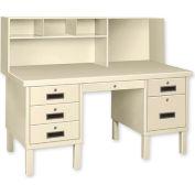 Double Pedestal Shop Desk w/ Filing Cabinet Blue