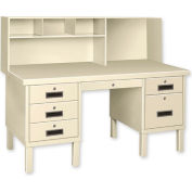 Double Pedestal Shop Desk w/ Filing Cabinet Putty