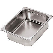 "Stainless Steel Hotel Pan, 2/4 Standard, 20-7/8""L, 6-3/8""W, 2-1/2""H - Min Qty 3"