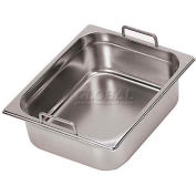 """Stainless Steel Hotel Pan, 1/4 W/Fixed Handles, 12-3/4""""L, 6-1/4""""W, 7-7/8""""H - Min Qty 2"""