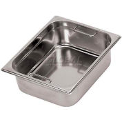 "Stainless Steel Hotel Pan, 1/2 W/Internal Handles, 12-1/2""L, 10-1/2""W, 6""H - Min Qty 2"