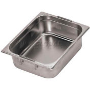 "Stainless Steel Hotel Pan, 1/3 W/Retractable Handles, 12-3/4""L, 7-1/8""W, 4""H - Min Qty 3"