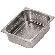 "Stainless Steel Hotel Pan, 2/3 Perforated, 14""L, 12-1/2""W, 4""H - Min Qty 2"