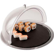 """Dome Display W/Slate Tray & Stainless Steel Base, 15""""W, 15""""L, 4""""H"""