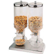 """Polypropylene Cereal Dispenser Duo W/Stainless Steel Lid, 6-7/8""""W, 8-5/8""""L, 20-1/2""""H"""