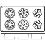 "Non-Stick Silicone Snowflake Mold, 11-7/8""L, 6-7/8""W, 1-3/8""H X 2-3/8"" Diameter Openings - Min Qty 6"