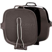 """Square Cast-Iron Grill W/Stainless Steel Handle, 9"""" Long - Min Qty 2"""