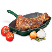 "Cast-Iron Rectangle Grill W/Cast Iron-Handle, Red Bottom, 9""L, 12-1/2""W, 2-3/4""H"