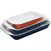"Blue Cast-Iron Rectangular Dish, 3 Qt, 13-3/8""L, 8-1/8""W, 2""H"