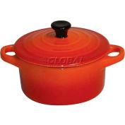 "Round Ceramic Dutch Oven W/Lid, Orange, 2""H, 4"" Diameter - Min Qty 9"