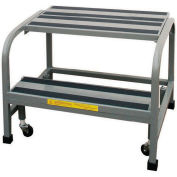 "P.W. Platforms 2 Step Steel Rolling Office Ladder W/ Handrail, 18"" Step Width - OL2SH18"