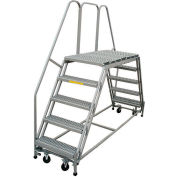 "P.W. Platforms 7 Step, 36""W x 63""D Steel Rolling Double Entry Platform - PWDE736-63"