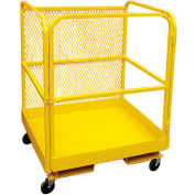 "P.W. Platforms 48"" Steel Forklift Platform with Cage Riser - PWFL-WP48CR"