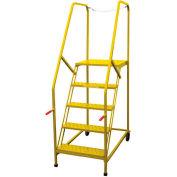 P.W. Platforms 7 Step Steel Rolling Truck Maintenance Ladder, Serrated Step, Yellow - TMP7SH30G