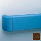 "Heavy-Duty 5.5"" Face Handrail/Wall Guard W/Aluminum-Reinforced Return & Retainer, 12' Long, Brown"