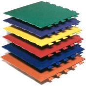 "Virgin Rubber Interlocking Tile, Hammered Surface, 24""L x 24""W, 3/8"" H, Black"