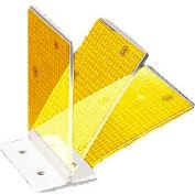 "Plastic Concrete Barrier Mount Reflector, 3"" X 4"", Flex Hinge, 2-Sided, Yellow - Pkg Qty 50"