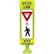 """Pexco® FG342 State Law Yield to Pedestrian Sign, 12"""" x 36"""", Fluorescent Yellow Green"""