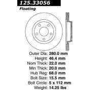 Centric Premium High Carbon Alloy Brake Rotor, Centric Parts 125.33056
