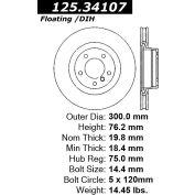 Centric Premium High Carbon Alloy Brake Rotor, Centric Parts 125.34107