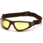 Xsg™ Eyewear Amber Anti-Fog Lens , Black Strap/Temples - Pkg Qty 12