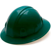 Green Full Brim Style 4 Point Ratchet Suspension Hard Hat - Pkg Qty 12