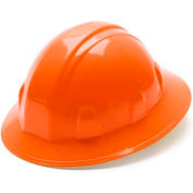 Orange Full Brim Style 4 Point Ratchet Suspension Hard Hat - Pkg Qty 12