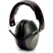 Pyramex® Low Profile Ear Muff, Fold-Away, Individually Packaged, NRR 22dB, Gray