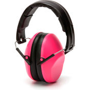 Pyramex® Low Profile Ear Muff, Fold-Away, Individually Packaged, NRR 22dB, Pink