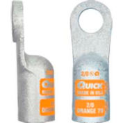 """Quick Cable 4802-050F 3/8"""" Heavy Duty Copper Lug Crimp, 2 Gauge, 50 Pcs"""