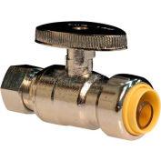 "Probite® 1/2"" X 3/8"" Od. Comp, Lead Free Brass Quarter Turn Straight Supply Stop - Pkg Qty 12"