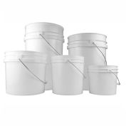 Qorpak 240171 5 Gallon (640oz) White HDPE Open Head Pail, Case of 4