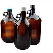 Qorpak GLA-00906 128oz (3,840ml) Amber Glass Jug Only, 38-400 Neck Finish, Case of 6