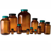 Qorpak GLA-00932 4oz (120ml) Amber Wide Mouth Packer Bottle Only, 38-400 Neck Finish, Case of 24