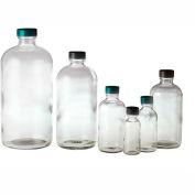 Qorpak GLC-01116 2oz (60ml) Clear Boston Round Bottle with 20-400 Black Phenolic Cap, Case of 24