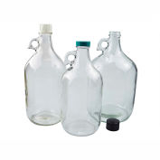 Qorpak GLC-01429 128oz (3,840ml) Clear Glass Jug with 38-400 Green Thermoset Cap, Case of 4