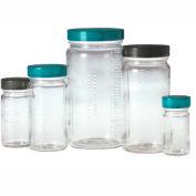 Qorpak GLC-01552 8oz Clear Graduated Medium Round Bottle with 58-400 Black Phenolic Cap, Case of 24