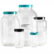 Qorpak GLC-01786 8oz Clear Standard Wide Mouth Bottle with 58-400 Black Phenolic Cap, Case of 24