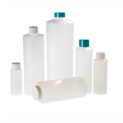 Qorpak PLC-03413 8oz Natural HDPE Cylinder Bottle with 24-410 White PP Cap, Case of 48