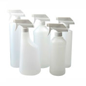Qorpak PLC-03438 32oz Natural HDPE Cylinder Bottle with 28-400 White PP Trigger Sprayer, Case of 12