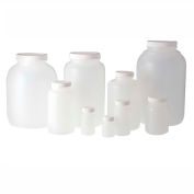 Qorpak PLC-03549 128oz Natural HDPE Wide Mouth Round Bottle with 89-400 White PP Cap, Case of 4